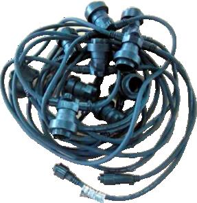 IZPĀRDOTS 10m E27 spuldžu kabelis, spuldžu solis 0.5m (ar starta kabeli un 20LED spuldzēm)
