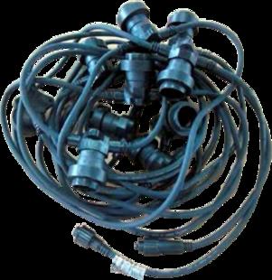 10m E27 spuldžu kabelis, spuldžu solis 1m (ar starta kabeli un 10 LED spuldzēm)